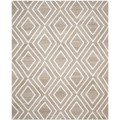 Mata Kilim Ivory/Gray Area Rug Rug Size: Rectangle 8 x 10