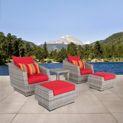 Alfonso 5 Piece Seating Group with Cushions Fabric: Sunset Red