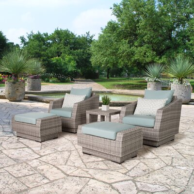 Alfonso 5 Piece Seating Group with Cushions Fabric: Spa Blue