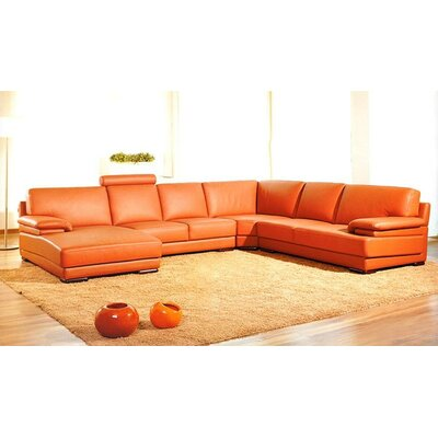 Orren Ellis ORNE1786 Cana Solid U-Shaped Leather Sectional