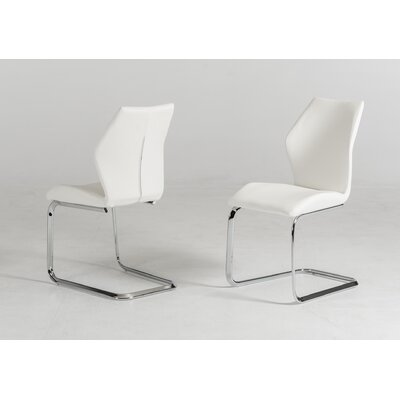 Presley Leatherette Dining Chair (Set of 2) Color: White