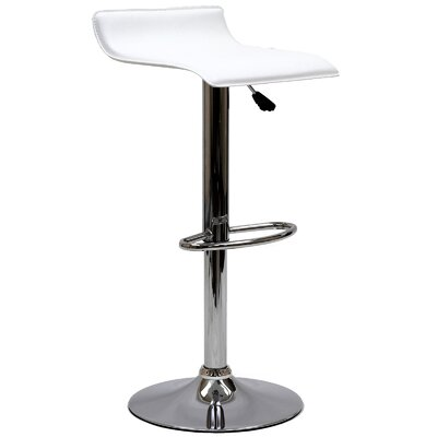 Steuben Adjustable Height Swivel Bar Stool Upholstery: White