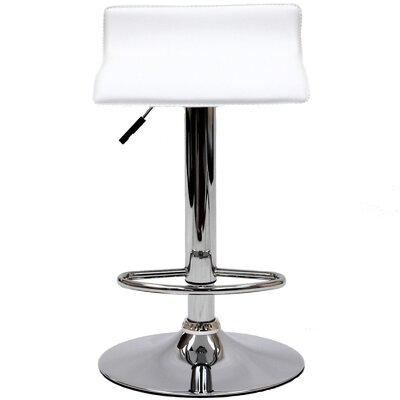 Crofts Adjustable Height Swivel Bar Stool Upholstery: White