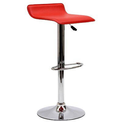 Steuben Adjustable Height Swivel Bar Stool Upholstery: Red