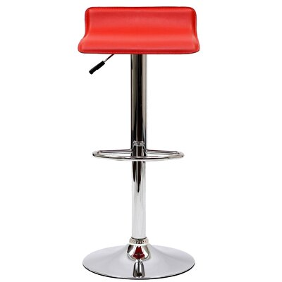 Crofts Adjustable Height Swivel Bar Stool Upholstery: Red