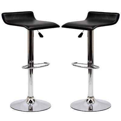 Steuben Adjustable Height Swivel Bar Stool Upholstery: Black