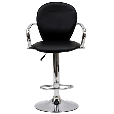 Dundry Adjustable Height Swivel Bar Stool Upholstery: Black