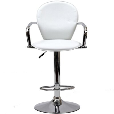 Dundry Adjustable Height Swivel Bar Stool Upholstery: White