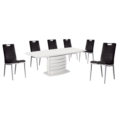 Leporis 7 Piece Dining Set Upholstery Color: Black