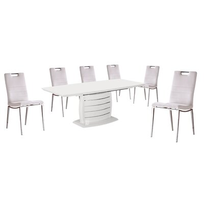 Leporis 7 Piece Dining Set Upholstery Color: White