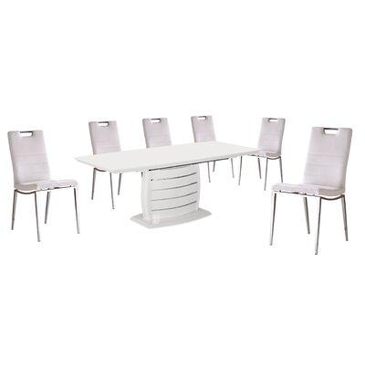 Kurt 7 Piece Dining Set Upholstery Color: White