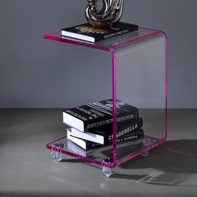 Aileen Acrylic C Shape End Table Finish: Pink