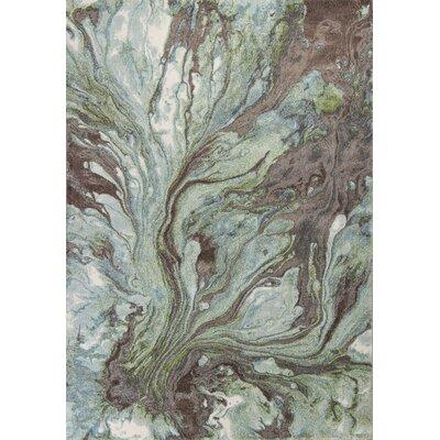 Kaia Seafoam/Brown Area Rug Rug Size: 53 x 77