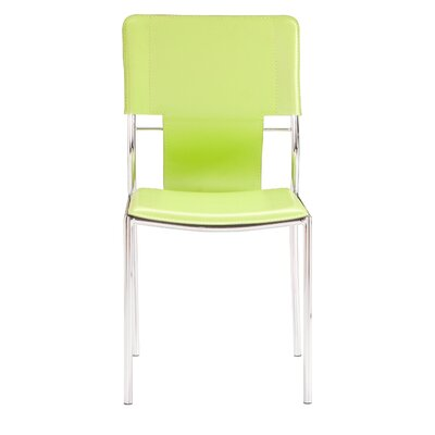 Landin Side Chair with Leatherette Seat and Back Upholstery: Green