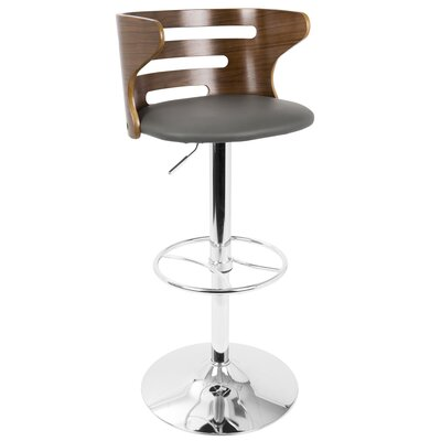 Lafayette Adjustable Height Swivel Bar Stool Color: Gray