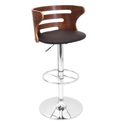 Lafayette Adjustable Height Swivel Bar Stool Color: Brown
