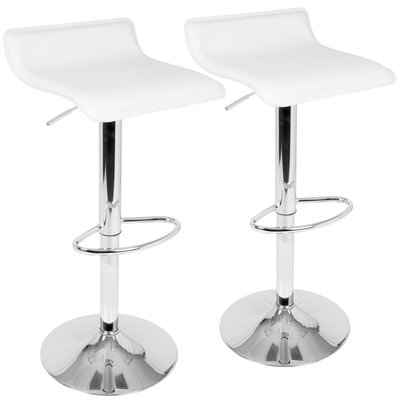 Dan Adjustable Height Swivel Bar Stool Color: White