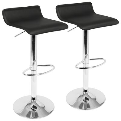 Dan Adjustable Height Swivel Bar Stool with Cushion Color: Black