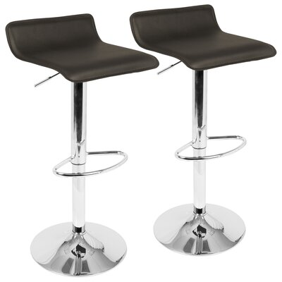 Dan Adjustable Height Swivel Bar Stool with Cushion Color: Brown