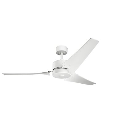 60 Leyla 3 Blade Ceiling Fan with Remote Finish: Matte White