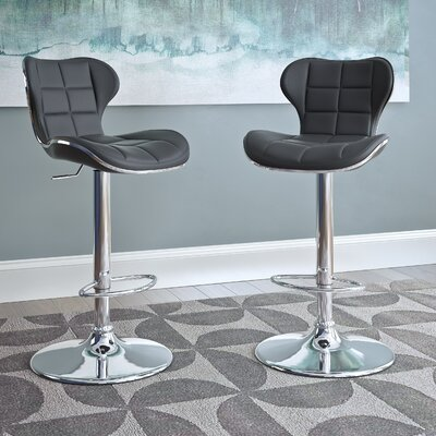 Carty Adjustable Height Swivel Bar Stool Upholstery: Black