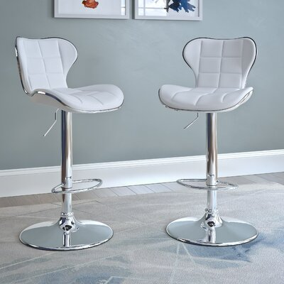 Carty Adjustable Height Swivel Bar Stool Upholstery: White