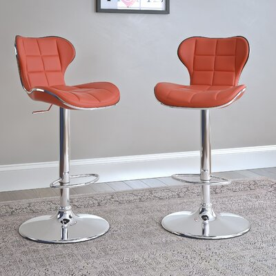 Paislee Adjustable Height Swivel Bar Stool Upholstery: Red