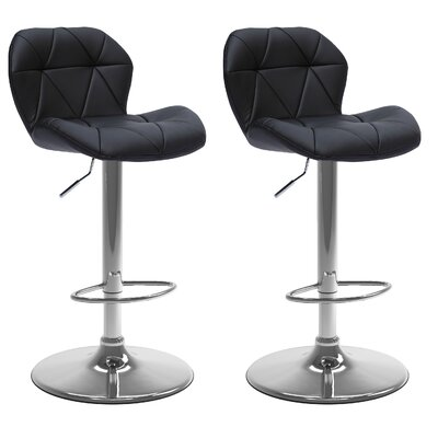 Desiree Adjustable Height Swivel Bar Stool Upholstery: Black