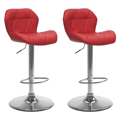 Desiree Adjustable Height Swivel Bar Stool Upholstery: Red