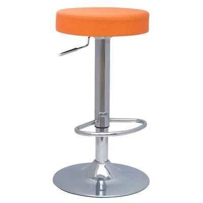 Emmy Adjustable Height Bar Stool with Cushion Upholstery: Mesh Orange