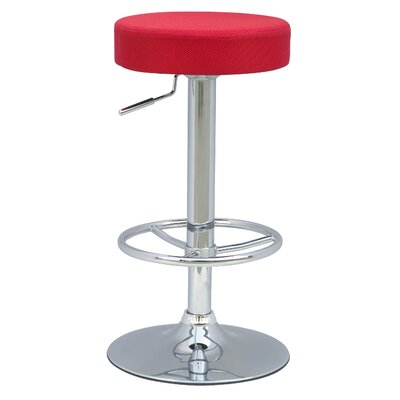 Emmy Adjustable Height Bar Stool with Cushion Upholstery: Mesh Red