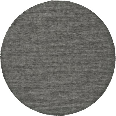 Casey Hand-Loomed Charcoal Area Rug Rug Size: Round 8