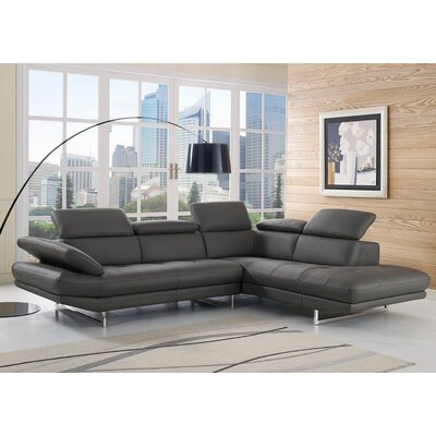 Gridley Leather Sectional Upholstery: Dark Gray