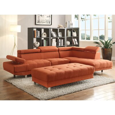 Askins Sectional Upholstery: Fabric-Orange