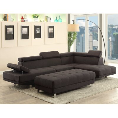 Askins Sectional Upholstery: Fabric-Black