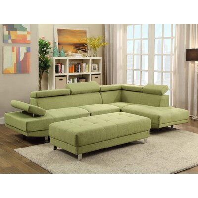 Askins Sectional Upholstery: Fabric-Green