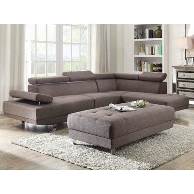 Leo Sectional Upholstery: Fabric-Smoke Gray