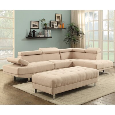 Askins Sectional Upholstery: Fabric-Tan