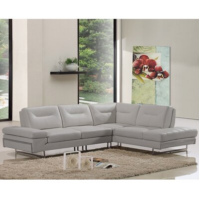 Coalpit Heath L-Shaped Genuine Leather Sectional