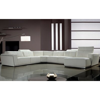 Coalpit Heath Leather Sectional Upholstery: White