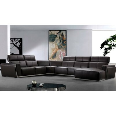 Coalpit Heath Leather Sectional Upholstery: Dark Brown