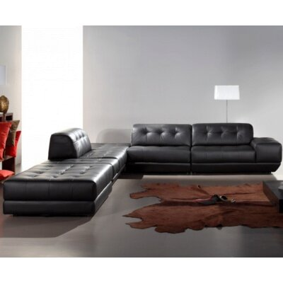 Coalpit Heath Left Facing Wood Frame Leather Sectional