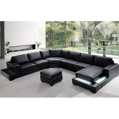 Coalpit Heath U-Shaped Leather Sectional Upholstery: Black Bonded