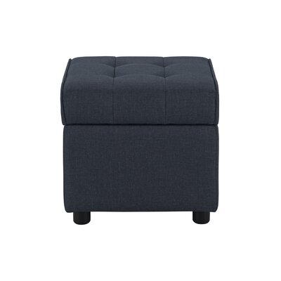 Littrell Square Storage Ottoman Upholstery: Blue Linen