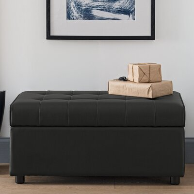 Littrell Rectangular Storage Ottoman Upholstery: Black Faux Leather