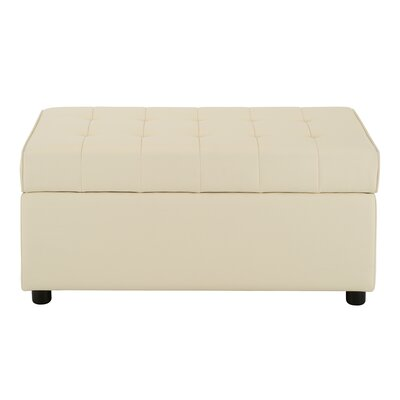 Littrell Rectangular Storage Ottoman Upholstery: Vanilla Faux Leather