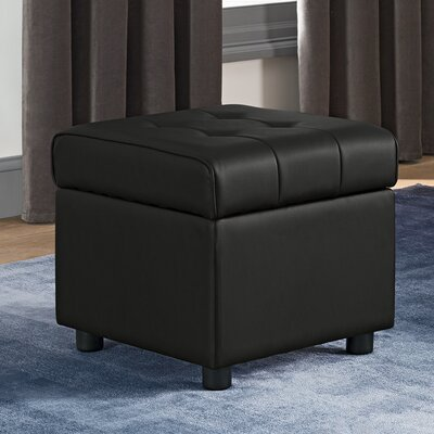 Littrell Square Storage Ottoman Upholstery: Black Faux Leather