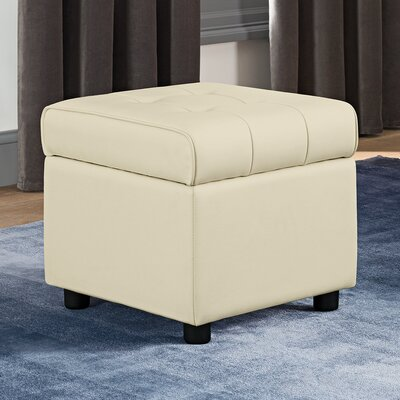 Littrell Square Storage Ottoman Upholstery: Vanilla Faux Leather