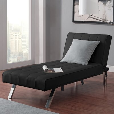 Littrell  Convertible Chaise Lounge Upholstery: Black