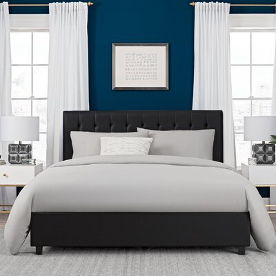 Littrell Upholstered Platform Bed Size: Queen, Headboard Color: Black